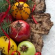 Christmas decoration with fruit — Stock Photo