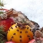 Christmas decoration with fruit — Stock Photo