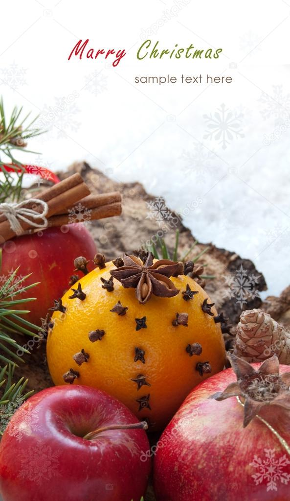 Christmas decoration with fruit on the snow background  — Stock Photo #14385717