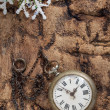 Christmas decoration with vintage clock — Stock Photo