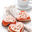 Cookies in the shape of a heart for Valentine's day — Stock Photo