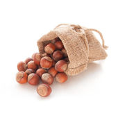Hazelnuts (filberts) in a bag — Stock Photo