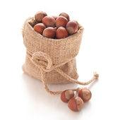 Hazelnuts (filberts) in a bag — Stock fotografie