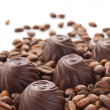 Chocolate candies with coffee beans  — Stock Photo