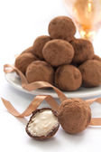 Chocolate truffles with sweet cream — Foto de Stock