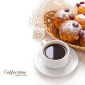 Cherry Muffins with coffee — Stock Photo