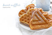 Morning breakfast with waffles — Stock Photo