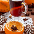 Mulled wine with slice of orange — Stock Photo #36655563