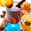 Mulled wine with slice of orange — Stock Photo #36658465