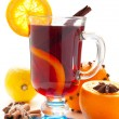 Mulled wine with slice of orange — Foto Stock