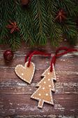 Kerstmis grens ontwerpen op de houten achtergrond — Stockfoto