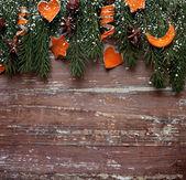 Frontière de noël design sur le fond en bois — Photo