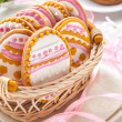 Stock Photo: Colorful Easter cookies in shape of egg