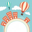 Hot Air Balloons Over Buildings — Stock Vector