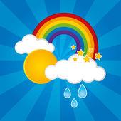 Clouds, Rain, Sun and a Rainbow — Vecteur