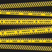 Yellow Hazard Warning Tapes — Stock Vector