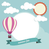 Hot Air Balloon and Clouds — Stock Vector