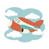 Plane in the clouds — Stock Vector