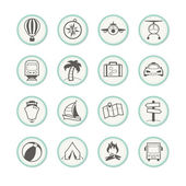 Travel and holiday icons — Stock Vector