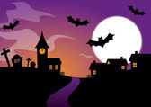 Halloween Design with bats and a graveyard — Stock Vector