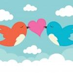 2 birds with love heart — Stock Vector #51235569