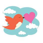 Bird with love heart — Stock Vector