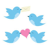 Birds with envelope and hearts — Stock Vector