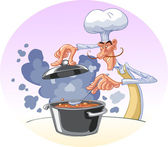 Chef cooking the soup — Stock Vector