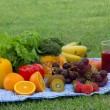 Colorful bowl of tropical fruit salad with Orange kiwifruit and fruit juice at the picnic in the grass — Stock Photo