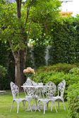White table and chairs in the garden. — Stock Photo