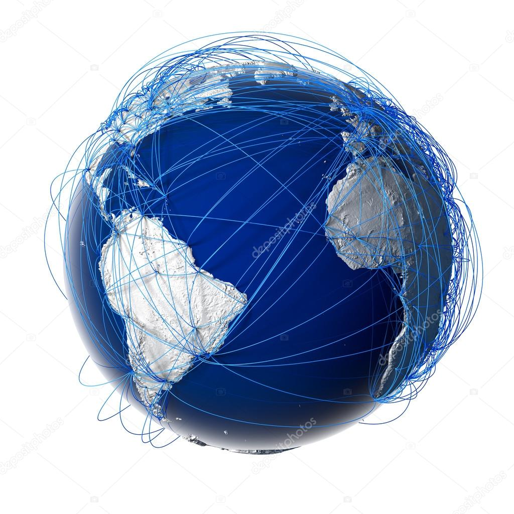 Earth with relief stylized continents surrounded by a wired network, symbolizing the world aviation traffic, which is based on real data on the carriage of passenger — Stock Photo #12818497