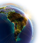 Main air routes in South America — Stock Photo