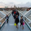 St Pauls cathedral view from the Millennium Bridge, London - Stock Photo