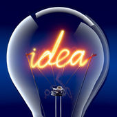 "The word ""idea"" light bulb inside — ストック写真"