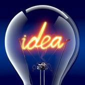 """The word """"idea"""" light bulb inside — Stock Photo"""