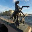 Klod's horses on Anichkov bridge, Saint Petersburg, Russia - Stock Photo