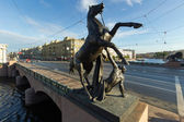 Klod's horses on Anichkov bridge, Saint Petersburg, Russia — Stock Photo