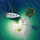 一个小岛上的热带天堂 — 图库照片