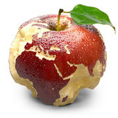 Apple with carved continents. Europe and Africa — Stockfoto