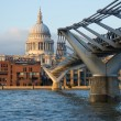 View of St Paul's cathedral and Millennium bridge, London — Stock Photo