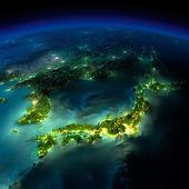 晚上地球。亚洲-日本、 韩国、 中国的一片 — 图库照片