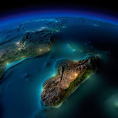 Night Earth. A piece of Africa - Mozambique and Madagascar — Stock Photo