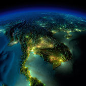 Night Earth. A piece of Asia - Indochina peninsula — Stock Photo