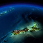 Night Earth. Pacific - New Zealand — Stock Photo