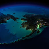 Night Earth. Alaska and the Bering Strait — Zdjęcie stockowe