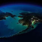 晚上地球。阿拉斯加和白令海峡 — 图库照片