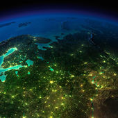 Night Earth. The European part of Russia — Stock Photo