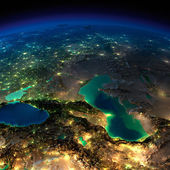 Night Earth. Caucasus and the Caspian Sea — Stock Photo
