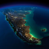 Night Earth. A piece of South America - Argentina and Chile — Stock Photo