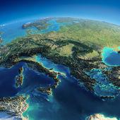 详细的地球。意大利、 希腊和地中海 — 图库照片